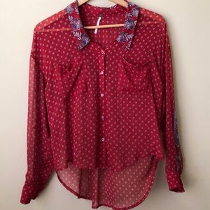 Free People Sheer High-Low Button Down Blouse